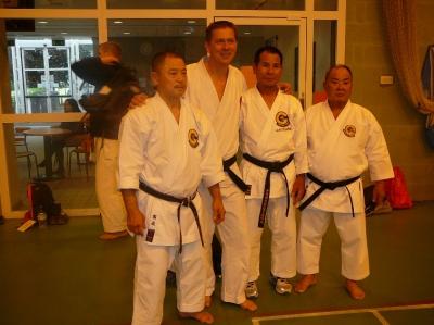 Engeland seminar, sempai Hans met Onaga, Kikukawa en Hirata sensei.